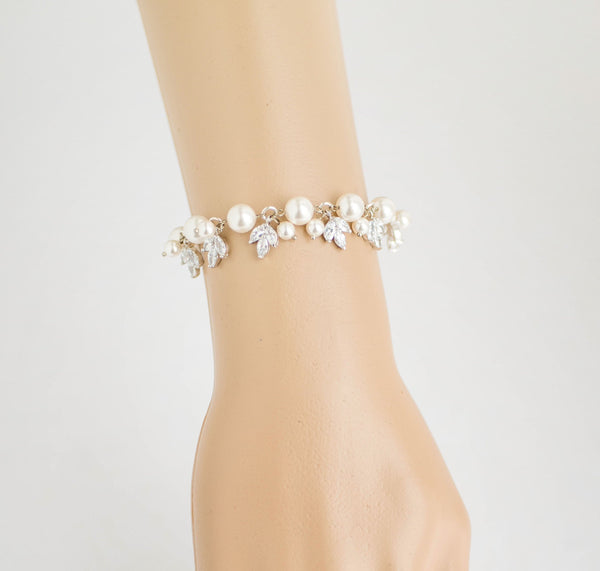 Bridal Swarovski Pearl and Crystal Bracelet in Silver, Leaf Cubic Zirconia Jewelry Bracelet, B 13