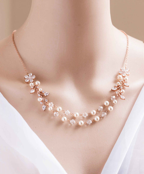 2 Strands Wedding Bridal Swarovski Pearl and Crystal Necklace N 03
