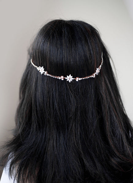 Rose gold /Silver Crystal Chain Halo Hairpiece Hairpiece Head Band Headband wedding bridal H54