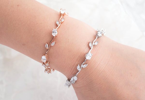 Bridal Swarovski Pearl and Crystal Bracelet in Rose gold /Silver ,Wedding Bridal Bracelet, Leaf Cubic Zirconia Jewelry, B 9