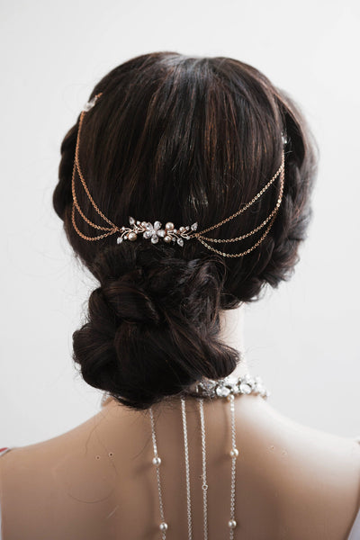 Bridal Hair Draped Bridal Headpiece Rose Gold Wedding Hair Drape Hair Accessory With Swags Rose Gold Hair Chain Modern Bridal Headpiece H56