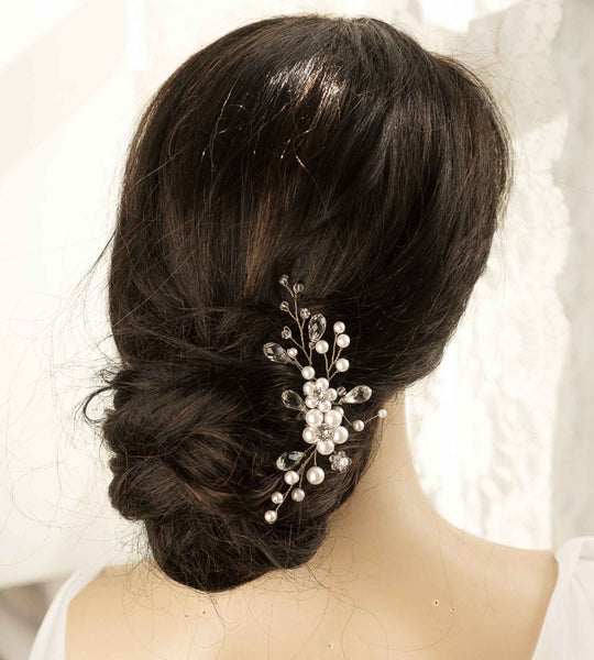 Wedding Bridal faux Pearls and Silver Crystal stone/Silver Hair comb  Halo Hairpiece Headband H06