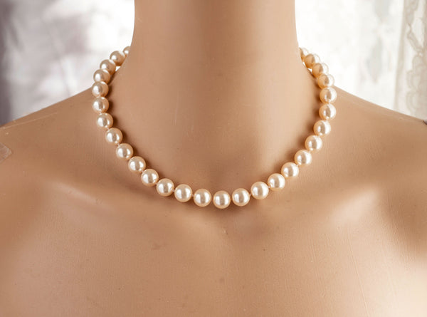 Wedding Bridal Swarovski Pearl One Strand Pearl Necklace Silver/Rose gold N02
