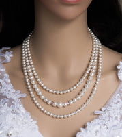 3 Strands Bridal statement necklace Bridal Swarovski pearl necklace Wedding jewelry Necklace Wedding necklace Vintage style necklace N 50