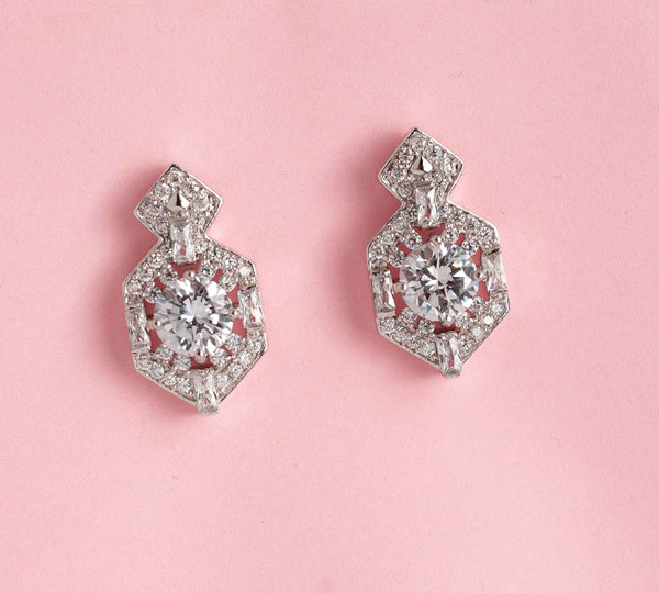 Crystal Bridal Earrings, Wedding Stud Earrings,Vintage Style Bridal Jewelry E01