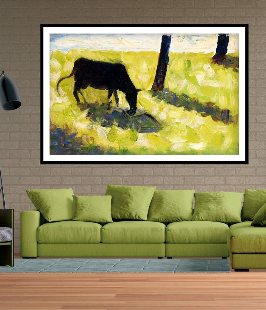 Seurat famous Paintings - Black Cow in a Meadow 1