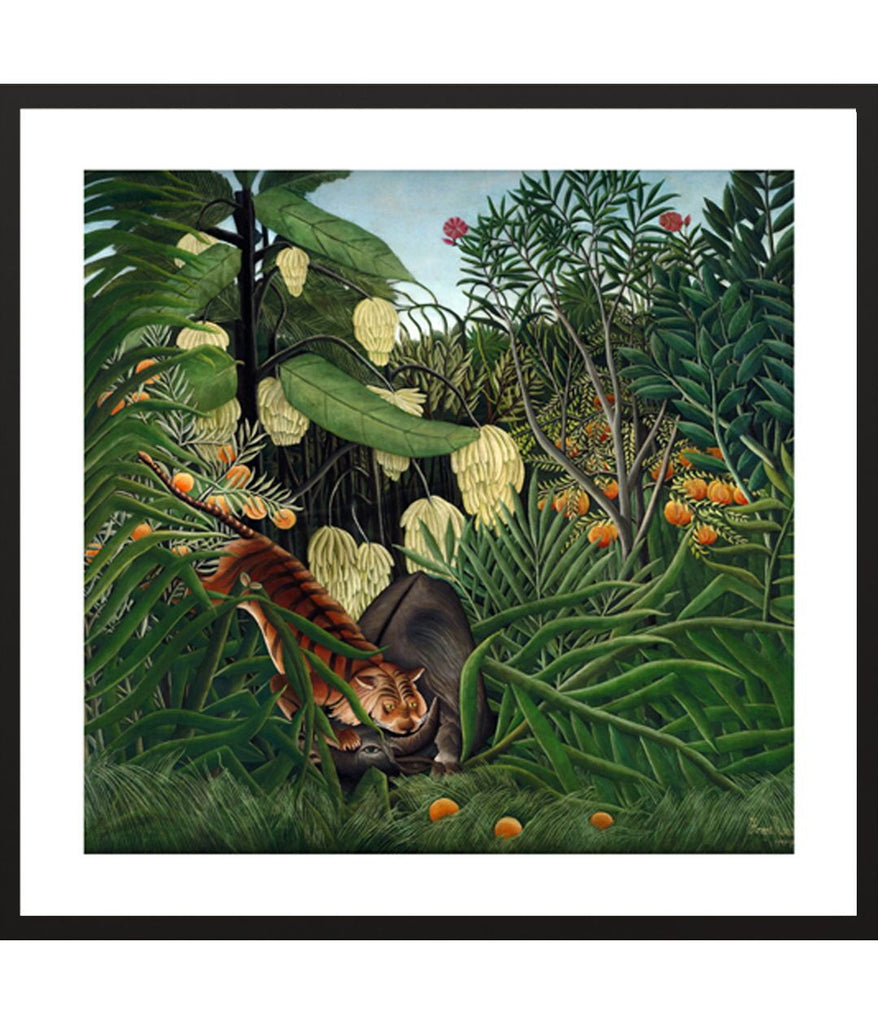 henri rousseau painting - Fight between a Tiger and a Buffalo