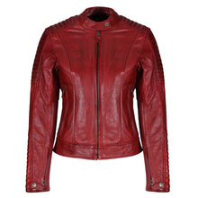 Load image into Gallery viewer, Valerie Red Leather Jacket - MotoGirl Ltd