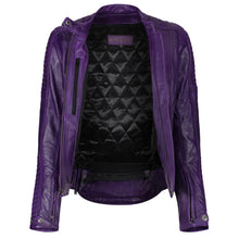 Load image into Gallery viewer, Valerie Purple Leather Jacket - MotoGirl Ltd
