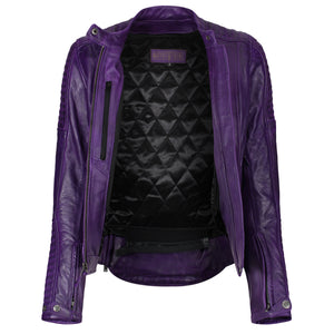 Valerie Purple Leather Jacket - MotoGirl Ltd