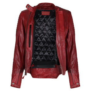 Valerie Red Leather Jacket - MotoGirl Ltd