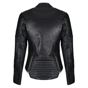 Valerie Black Leather Jacket - MotoGirl Ltd