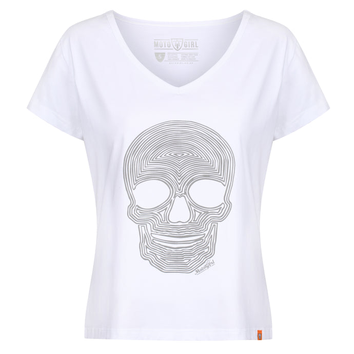 Reflective Skull White - MotoGirl Ltd