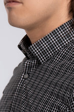 Load image into Gallery viewer, Men's Long Sleeve Dress Shirt - Black Plaid