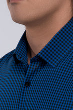 Load image into Gallery viewer, Men's Long Sleeve Dress Shirt - Blue-Black Check