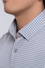 Load image into Gallery viewer, Men's Long Sleeve Dress Shirt - Light Grey Gingham