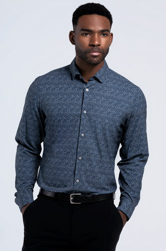 Men's Long Sleeve Dress Shirt - Blue Black Dot