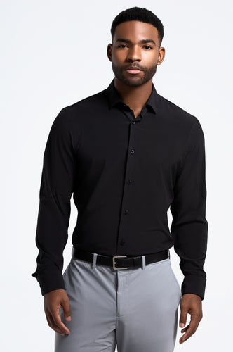 Men's Long Sleeve Dress Shirt - Black