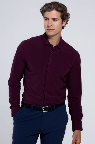 Men's Long Sleeve Dress Shirt - Plum
