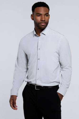 Men's Long Sleeve Dress Shirt - Silver