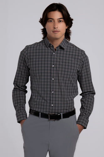 Men's Long Sleeve Dress Shirt - Black Plaid