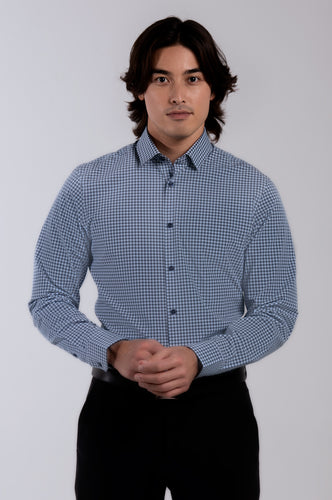 Men's Long Sleeve Dress Shirt - Blue Gingham