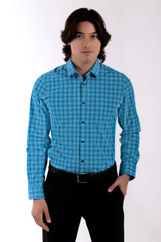 Men's Long Sleeve Dress Shirt - Blue Plaid