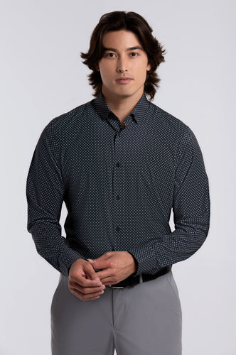 Men's Long Sleeve Dress Shirt - Black Circle