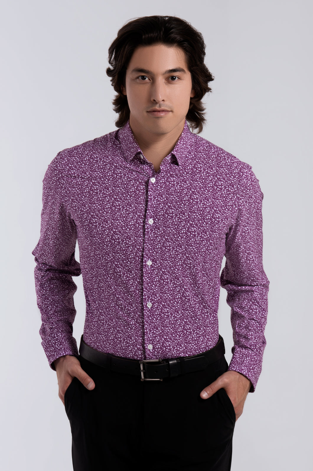 Men's Long Sleeve Dress Shirt - Plum Floral