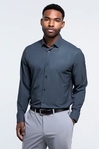 Men's Long Sleeve Dress Shirt - Black Blue Dot