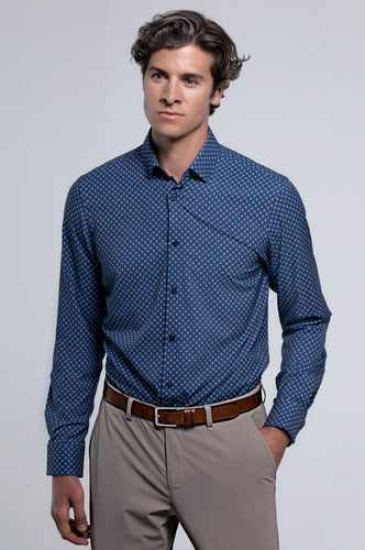 Men's Long Sleeve Dress Shirt - Blue Teal Geo