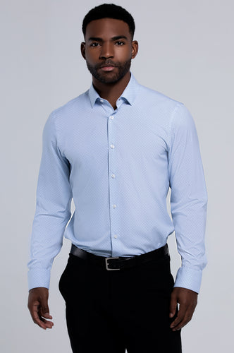 Men's Long Sleeve Dress Shirt - Light Blue Circle