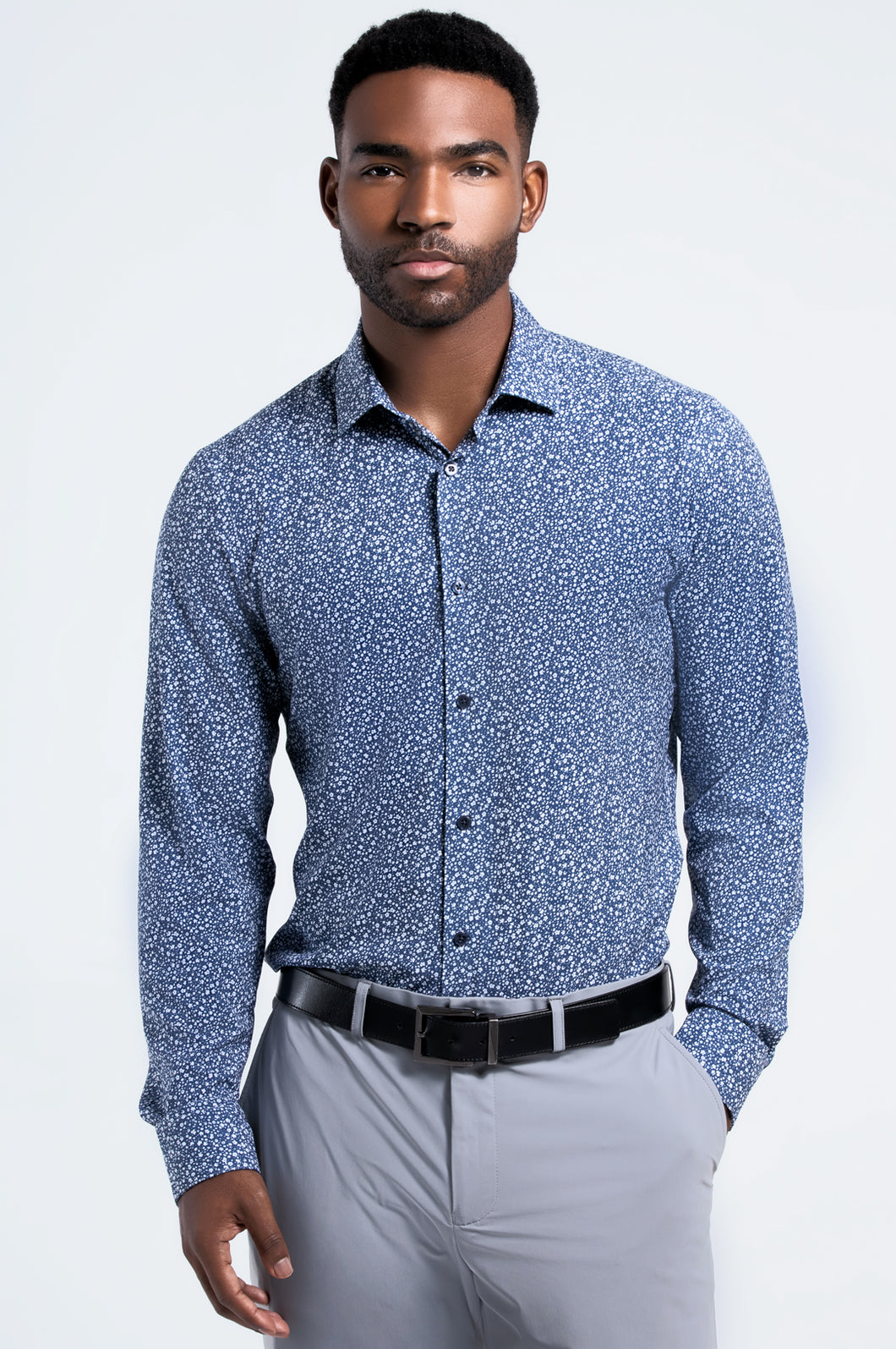 Men's Long Sleeve Dress Shirt - Navy Floral