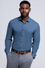 Load image into Gallery viewer, Men's Long Sleeve Dress Shirt - Navy Teal Window