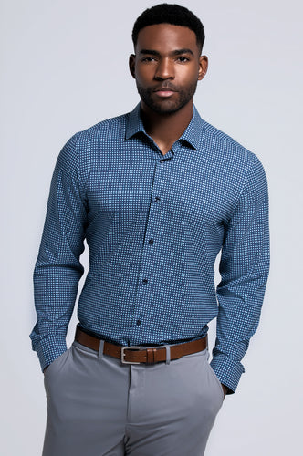 Men's Long Sleeve Dress Shirt - Navy Teal Window