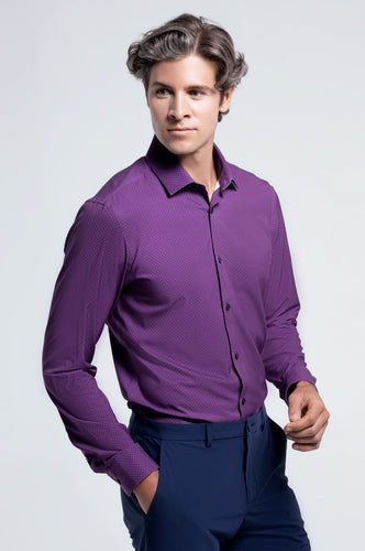 Men's Long Sleeve Dress Shirt - Plum Geo