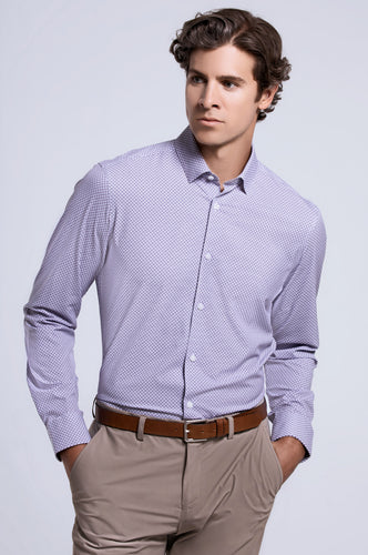Men's Long Sleeve Dress Shirt - White Plum Geo