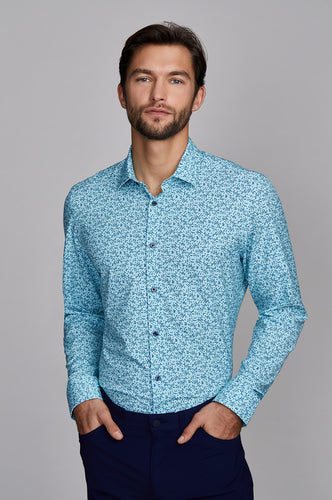 Phoenix Long Sleeve Dress Shirt - Teal Navy Leaf