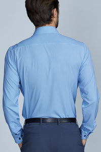 Phoenix Long Sleeve Dress Shirt - White Blue Geo