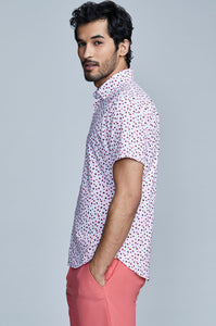 Phoenix Short Sleeve Button Up - Rose Red Floral