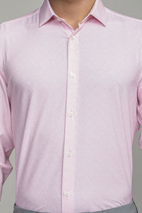 Phoenix Long Sleeve Dress Shirt - Pink Etched