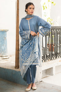 Unstitched 3 Piece Embroidered Doria Lawn Suit