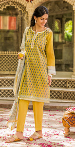 Unstitched 3 Piece Embroidered Lawn with Chiffon Suit