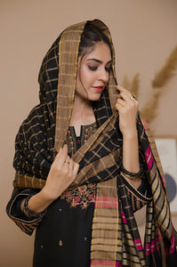 3 PC Unstitched Khaddi Net Suit with Khaddi Net Jacquard Dupatta