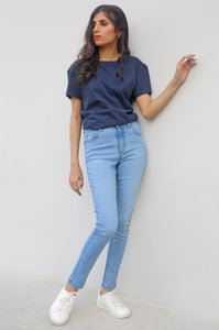 Skinny Fit Jegging Pants - L/BLUE