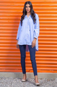Stitched 1 Piece Embroidered Chambray Shirt
