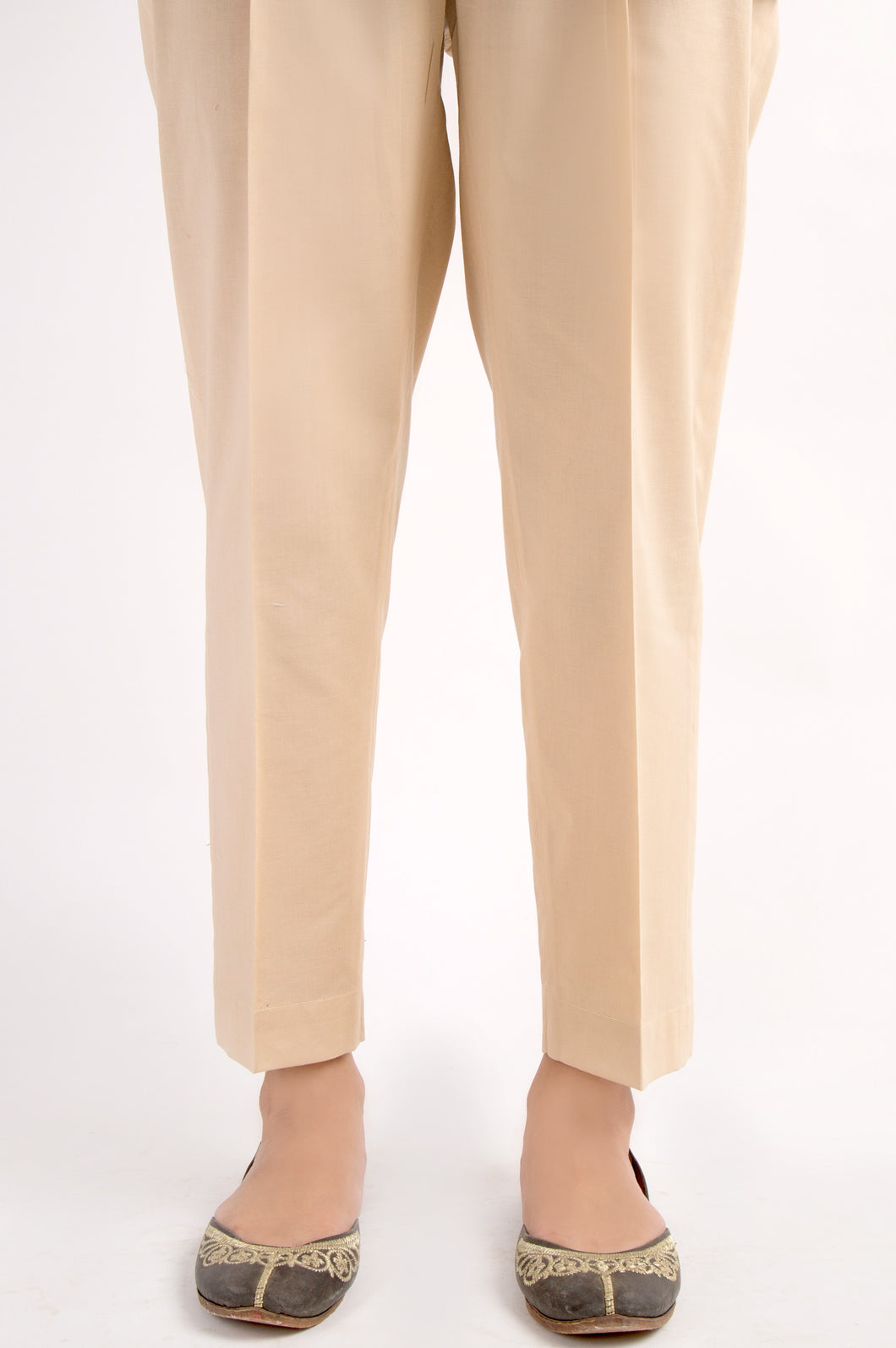 Cambric Basic Plain Cigarette Pants - Beige