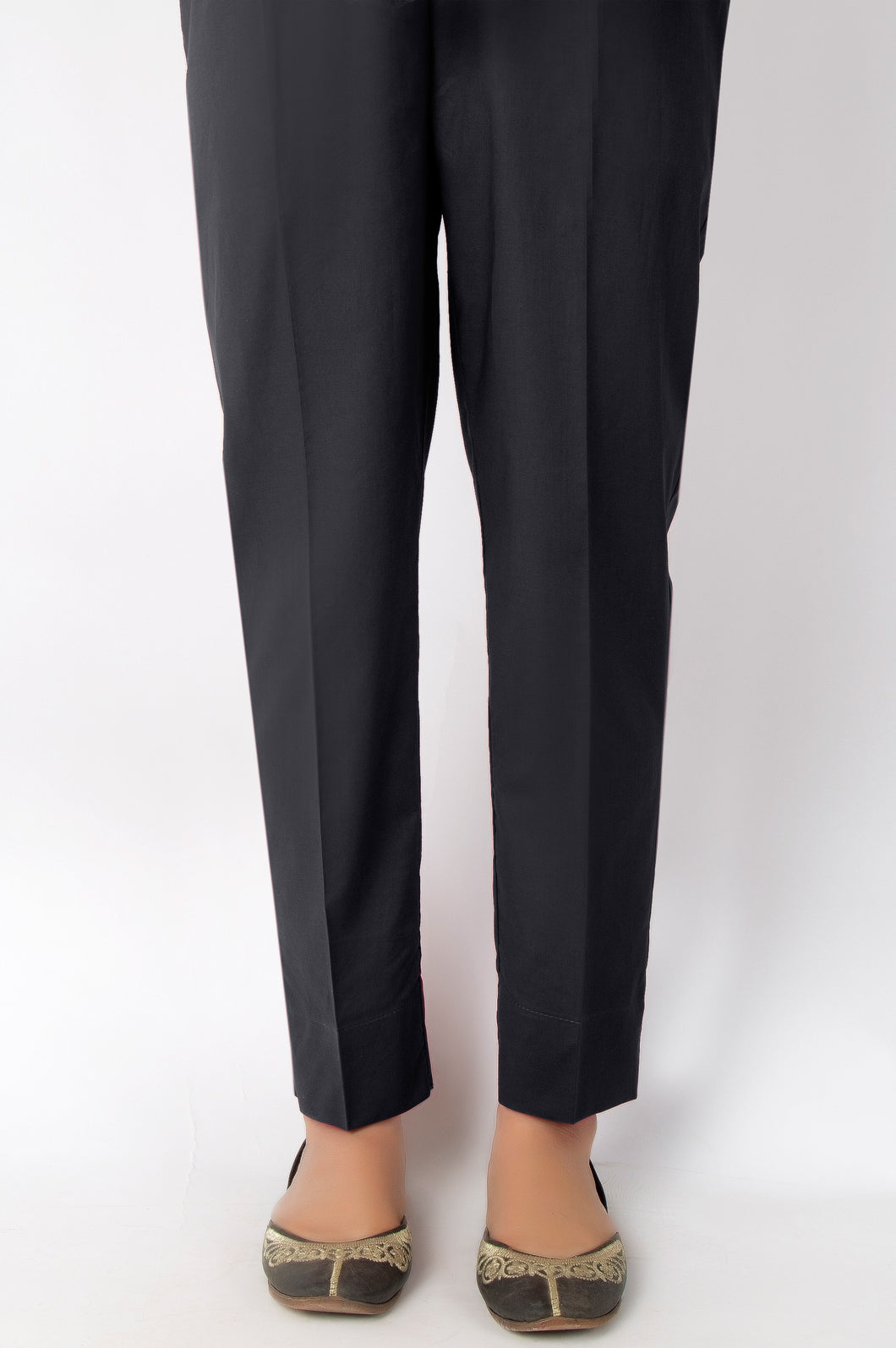 Basic Color Cigarette Pants - Black