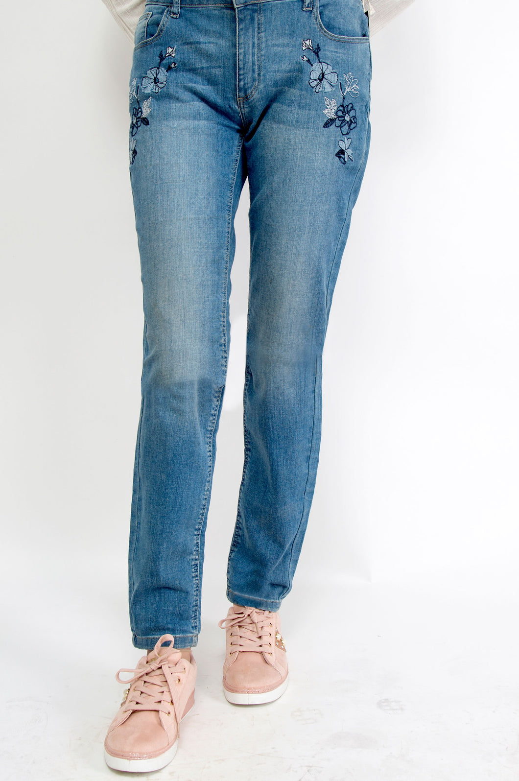 Cotton Denim Pants - M/Blue