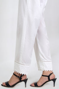 Embellished Cigarette Pants - White